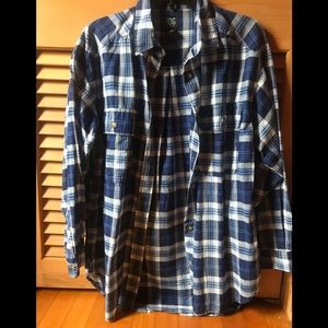 BDG Oversized Blue and White Plaid Flannel Shirt S
